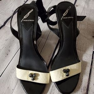 Brian Atwood black and cream wedges